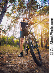 велосипедист, верховая езда, , велосипед, на, , след, в, лето, лес