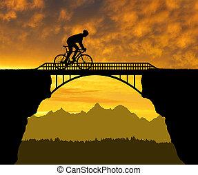велосипедист, верховая езда, через, , мост