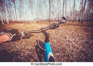 велосипедист, в, на, байк