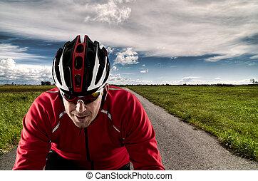 велосипедист, на, , дорога