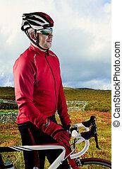 велосипедист, and, his, велосипед