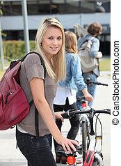 велосипед, кампус, студент