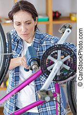 велосипед, механик, ремонт, байк, в, мастерская