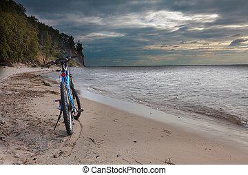 велосипед, на, , пляж
