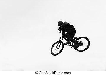 велосипед, трюк, прыгать