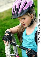 велосипед, шина, велосипедист, pumping, рука, насос, ребенок...