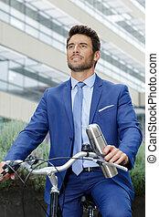 велосипед, businessmen, молодой