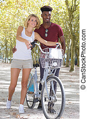 велосипед, pushing, пара, вместе, гулять пешком