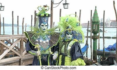 венеция, пара, карнавал, masked