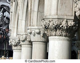 венеция, capitals, дворец, doge's, -, columns