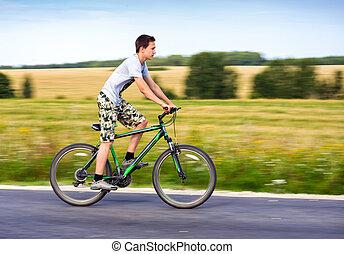 верховая езда, велосипед, подросток