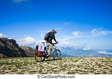 верховая езда, велосипед, человек
