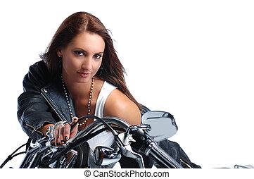 верховая езда, девушка, велосипед, привлекательный