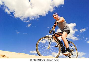 верховая езда, люди, молодой, велосипед
