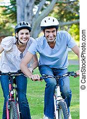 верховая езда, пара, анимационный, велосипед