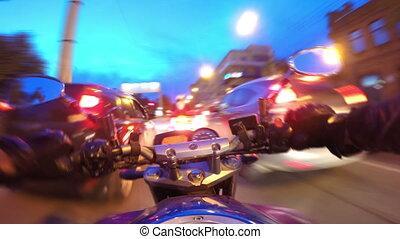 верховая езда, timelapse, мотоцикл, город
