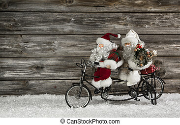 веселая, деревянный, рождество, задний план, with, два, санта, клаус, на, , bicy
