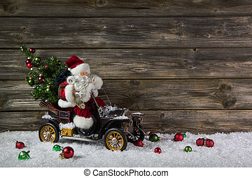 веселая, деревянный, рождество, задний план, with, санта, для, , ваучер, или, колорадо
