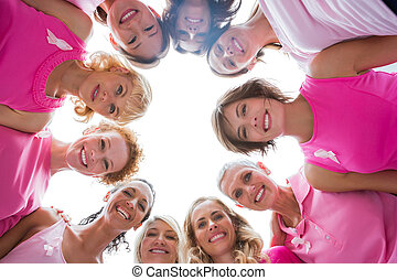веселая, женщины, в, круг, носить, розовый, для, грудь, рак