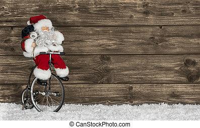 веселая, задний план, деревянный, приветствие, bike., санта,...