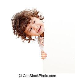 веселая, кудрявый, пустой, лицо, реклама, держа, ребенок, ...