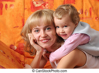 веселая, мама, игры, дочь, 4