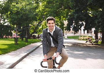 веселая, молодой, бизнесмен, верховая езда, на, , велосипед