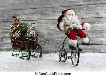 веселая, рождество, приветствие, карта, with, санта, на, байк, тянущий, , sli
