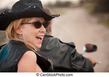 весело, пара, верховая езда, , мотоцикл