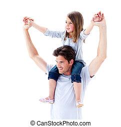 веселый, отец, giving, his, дочь, , комбинированный, поездка