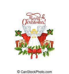 веселый, рождество, вектор, ангел, значок
