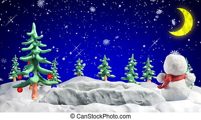 веселый, рождество, глина, greetings, петля