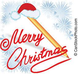 веселый, рождество, написано, в, красный, чернила