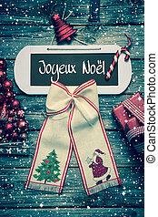 веселый, рождество, приветствие, карта, with, французский, текст, на, деревянный, backgro