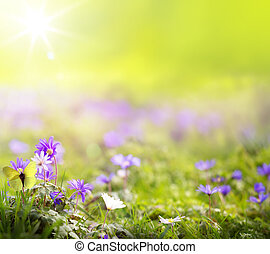 весна, абстрактные, изобразительное искусство, зеленый,...