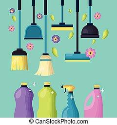 весна, инструменты, уборка
