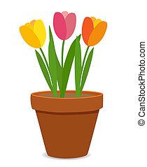 весна, тюльпан, цветы, горшок, цветок, иллюстрация