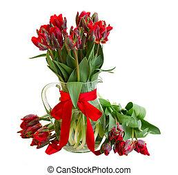 весна, тюльпан, цветы, красный, ваза