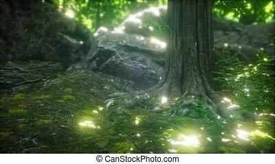 весна, rays, солнце, лес, утро, туманный