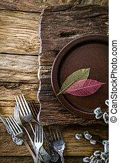 весна, setting., дерево, столовые приборы, таблица
