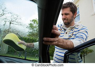 ветровое стекло, губка, сотрудники, авто, мойка, оказание услуг