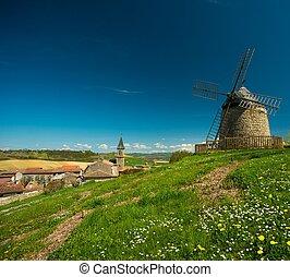 ветряная мельница, старый, франция, деревня, lautrec, фронт