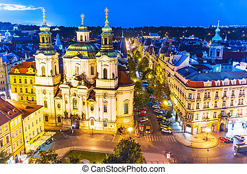 вечер, прага, чешский, республика