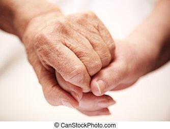 взрослый, помощь, старшая, в, больница