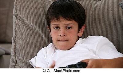 видео, games, успешный, мальчик, playing