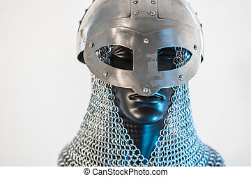 викинг, шлем, with, цепь, почта, в, , черный, манекен, на, белый, background., одежда, для, , викинг, война