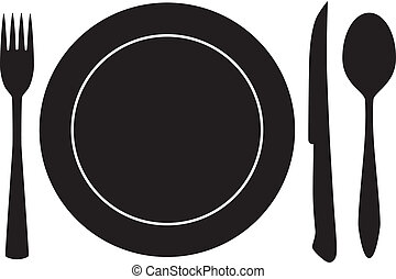 вилка, ложка, вектор, полная тарелка, нож