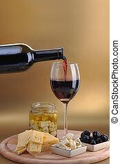 вино, бутылка, and, сыр
