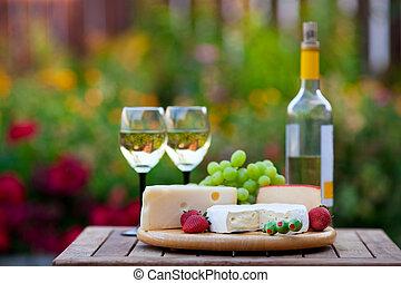 вино, &, сыр, сад, вечеринка