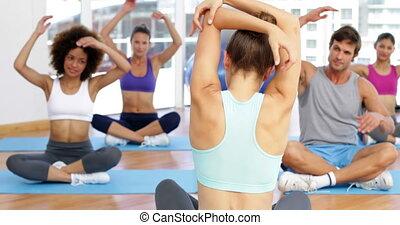 вместе, сидящий, фитнес, класс